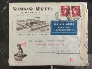 1941 Milan Italy Dual Censored Commercial Cover To Prague Bohemia Germany Betti