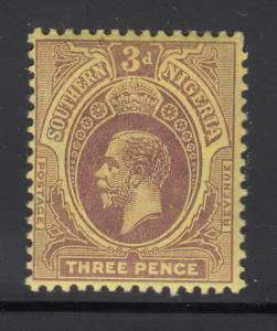 Southern Nigeria 1912 MH 3p George V, violet on yellow