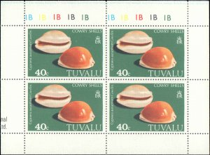Tuvalu #129-132, Complete Set(4), Blocks of 4, 1980, Seashells, Never Hinged