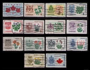 CANADA 1964 #417-429a 5¢ FLORAL EMBLEMS CPL SET OF 14 USED CAT $2.80, NICE LOT