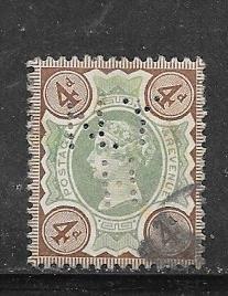 GB #116 4p Victoria (U) perfin CV.$15.00