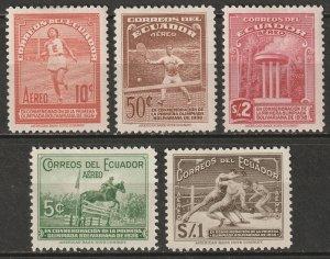 Ecuador 1939 Sc C65-9 air post set MH*