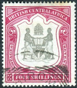 BRITISH CENTRAL AFRICA-1896-1900 4/- Black & Carmine.  A fine used example Sg 50
