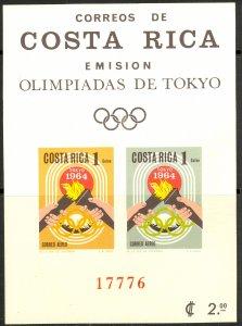 COSTA RICA 1965 TOKYO OLYMPICS Airmail Souvenir Sheet Sc C416a IMPERF MNH