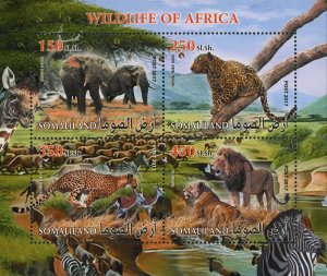 Wild Life Elephant Lion Souvenir Sheet of 4 Stamps Mint NH