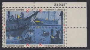 US Sc 1480-1483 MNH. 1973 8c Boston Tea Party, Plate Block w/ 2 diff Plate #s
