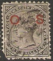 New South Wales 1881 Scott O19c OS overprint used fault