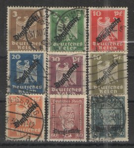 Germany - Inflation Era 1924 Sc# O53-O61 Used VG - 1924 Official issues
