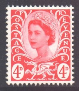 GB Regional Wales Scott 10 - SG W10, 1968 4d Red MNH**