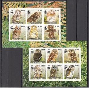 Mauritania, 2002 Cinderella issue. Owls #1 sheets. Scout logo.