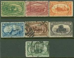 EDW1949SELL : USA 1898 Scott #285-91 Used. Small faults. Nice cancels. Cat $350.