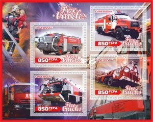 Stamps. Fire Tucks Set 2 sheet perforated