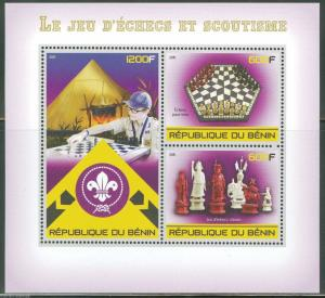 BENIN 2015 SCOUTS AND THE GAME OF CHESS  SHEET OF THREE STAMPS