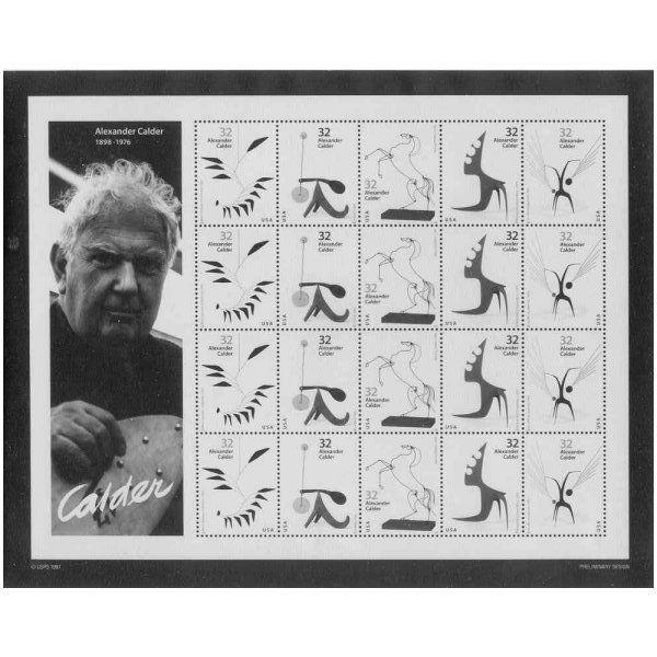 US #3198-3202 Sculptor Aexander Calder Pane Photo of Essay