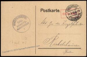 Germany 1923 Karlsruhe Last Day Rate Fee Paid Gebuehr Bezahlt Cover 67195