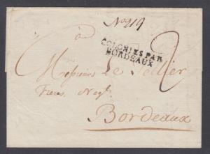US 1803 SFL, NY to Bordeaux, France, Ouverte a l'amiraute de Londres, censored