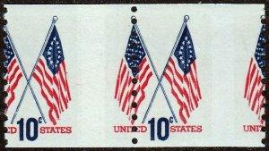 U.S. #1519 Coil Pair MNH, Misperf Error, Flags.