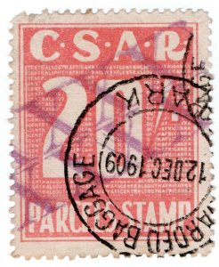 (I.B) Transvaal Railways : CSAR Parcel Stamp 20/- (large format)