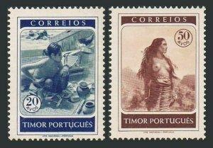 Timor Portuguese 256-257,mint no gum.Michel 279-280. Craftsman,Timor woman,1950.