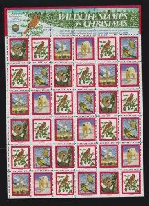 US 1981 National Wildlife Federation Mint Cinderella Christmas Stamp Sheet OG NH