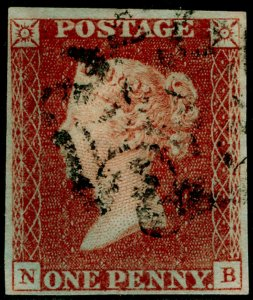 SG8, 1d red-brown PLATE 17, FINE USED. Cat £80. BLACK MX. NB