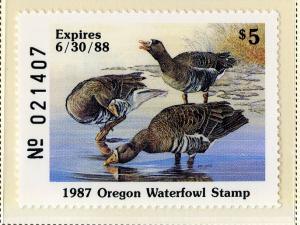 US OR4 OREGON STATE DUCK STAMP 1987 MNH SCV $14.00 BIN $7.00
