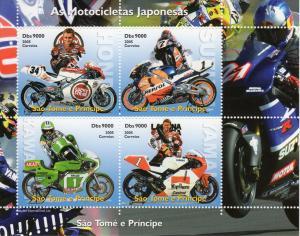 St.Thomas and Principe 2005 JAPANESE MOTORBIKES Shlt (4) Perforated MNH