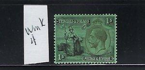 TRINIDAD SCOTT #29 1922-28 BRITANNIA 1SH (BLACK/EMERALD) - MINT LIGHT HINGED