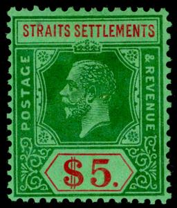 MALAYSIA - Straits Settlements SG240a, $5 green & red/green, VLH MINT. Cat £110.