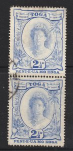 Tonga a used pair of 2.5d from 1942 & one has the recut 2 variety