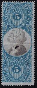 US STAMP BOB REVENUE #R127 – 1871 $5  Revenue stamp crease