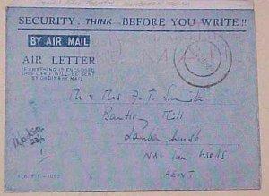 KENYA  AIR LETTER SECURITY 1945 MOMBASSA WOMAN NAVY