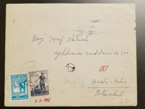 1946 Sivas Cover to Istanbul Turkey With Contents