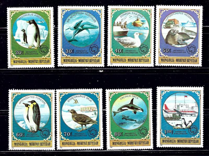 Mongolia MNH 1137-44 Antarctic Animals & Explorers SCV 15.65