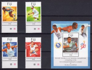 FIJI 1998 Sc#825/829 COMMONWEALTH GAMES-RUGBY WORLD CUP Set (4) + 1 S/S  MNH