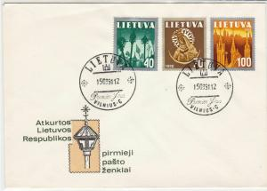Lithuania 1991 Restoration of Lithuanian Republic Stamps FDC Cover Ref 29608