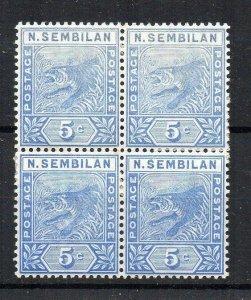 Malaysia - Negri Sembilan 1894 5c blue MNH block of 4