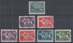 Sweden Sc 229-235 used 1931-1932 issues, 5kr Royal Palace & Gustavus Adolphus