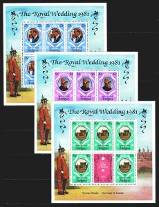 Antigua and Barbuda. 1981. Small sheet 628s-30s. Princess Diana, Royal Family...