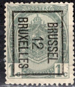 Belgium; 1893: Sc. # 60; O/Used Bilingual Precancel Single Stamp