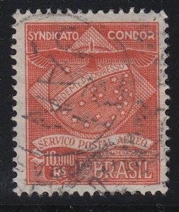 Brazil 1927 10,000r Orange Vermilion Syndicato Condor Used. Scott 1CL7