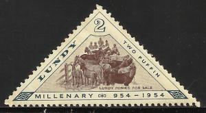 Lundy (true local issue) Cinderella 1954 Backman# 114 MNH