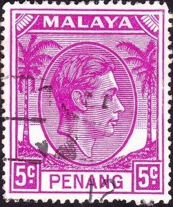 MALAYA PENANG 1952 KGVI 5c Bright Purple SG7 Used