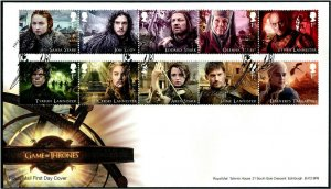 HERRICKSTAMP GREAT BRITAIN Sc.# 3679-88 Game of Thrones First Day Cover