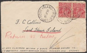 AUSTRALIA 1937 cover to LORD HOWE ISLAND with cds - returned................N599