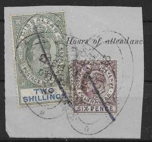 GIBRALTAR SG50,52 1903 6d & 2/= FISCALLY USED ON PIECE