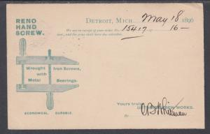 US Sc UX12 used 1896 1c Advertising Postal Card, Reno Hand Screw, F-VF