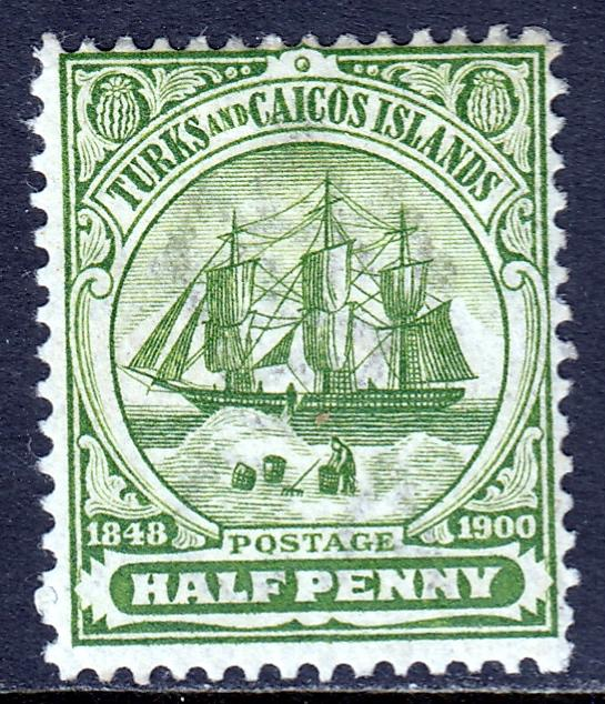 Turks and Caicos Islands - Scott #1 - MH - Crown CA Wmk - SCV $3.00