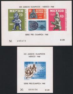 Mexico Olympic Games 1968 2 MSs SG#1106-1107 MI#Block 3-4