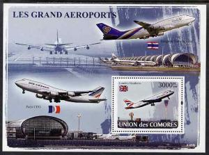 Comoro Islands MNH S/S Airplanes Airports 2009